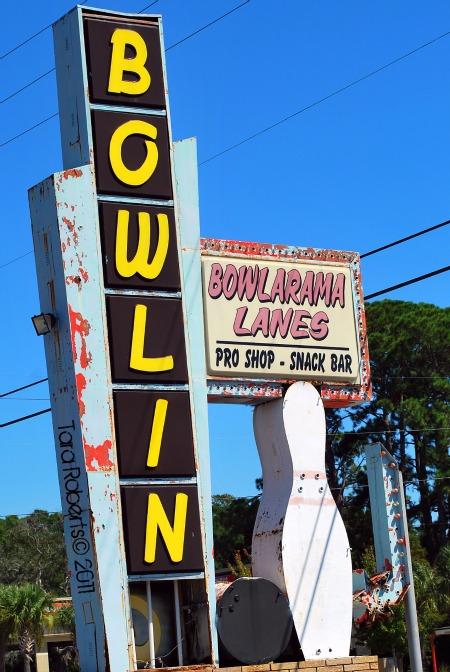 vintage bowling sign