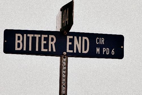 Road sign Bitter End