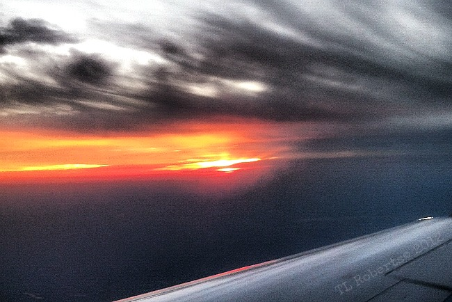 airplane sunset