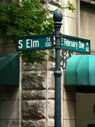 street sign elm and February