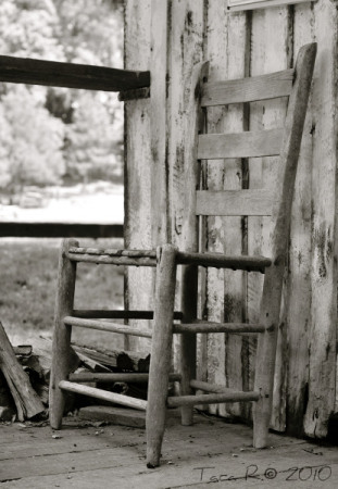 black and white wooden chair