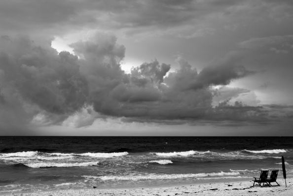 storm on the beach, black and white