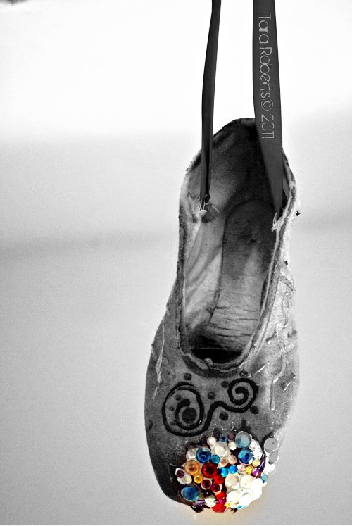 black and white, ballet slipper