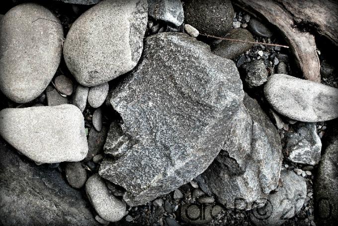 black and white river rocks