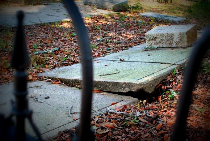 broken grave ledger marker