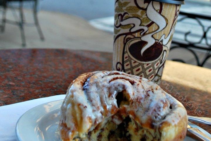 cinnamon roll and coffee