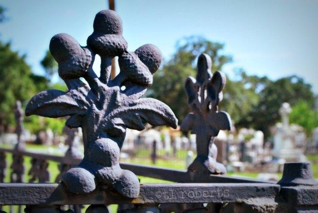 acorn finials on cemetery fence