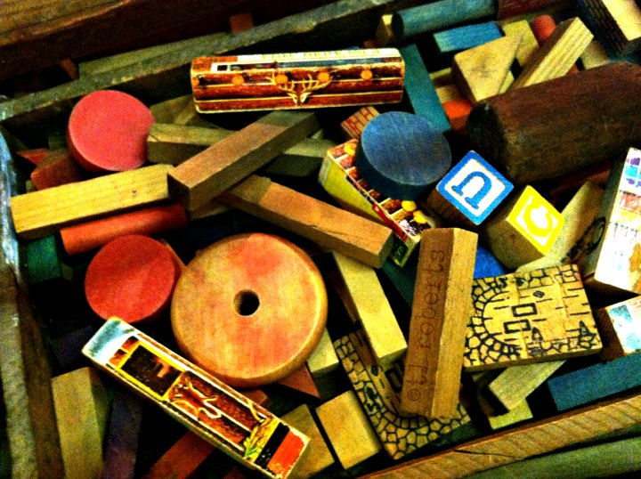 box of wooden toys