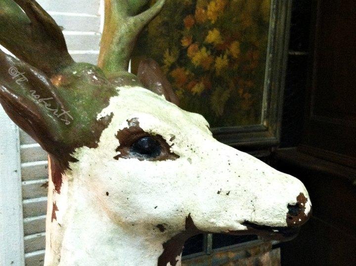 whitewashed wooden deer