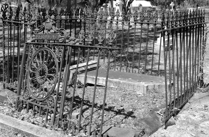 black and white cemetery plot