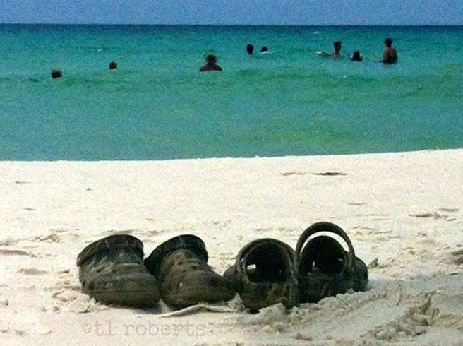 Camouflage Crocs on the beach