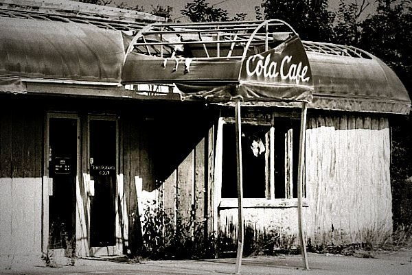 black and white of old cafe