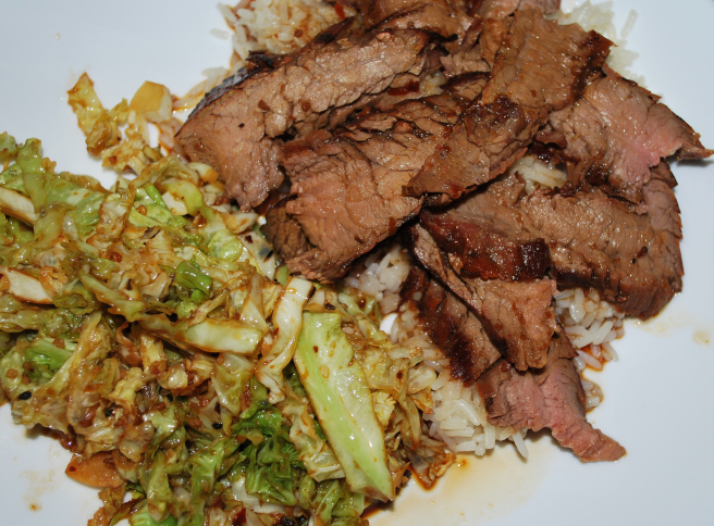 Bulgogi with bok choy and rice