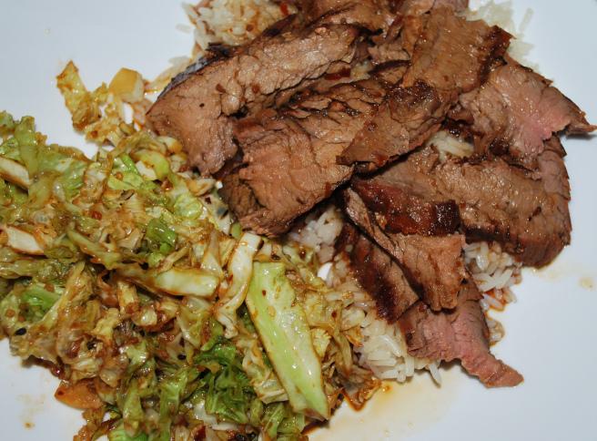 Bulgogi with bok choy and rice