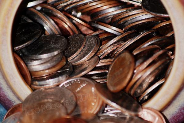jar of loose coins