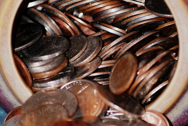 jar of loose coins