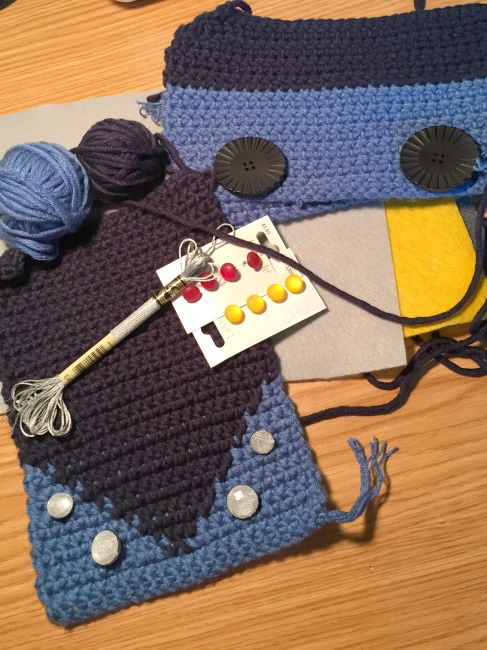 crochet pieces and buttons