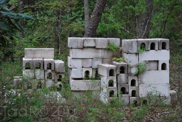 pile of cinder blocks