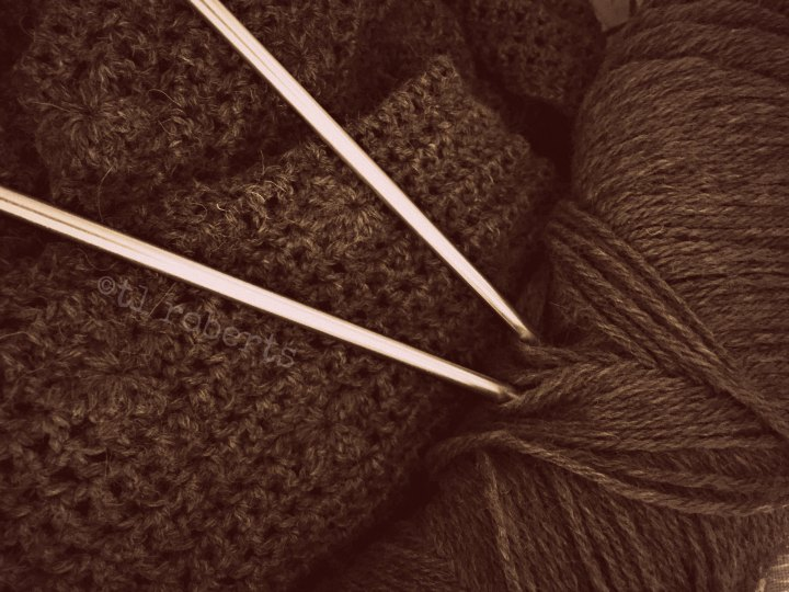 skein wool and knitting needles