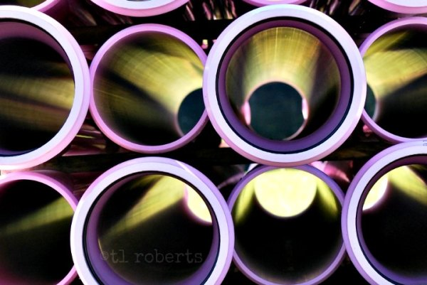 view inside plastic pipes