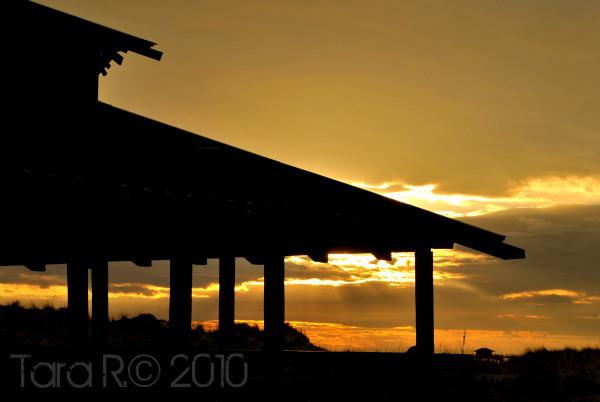 sunset at beach pavilion