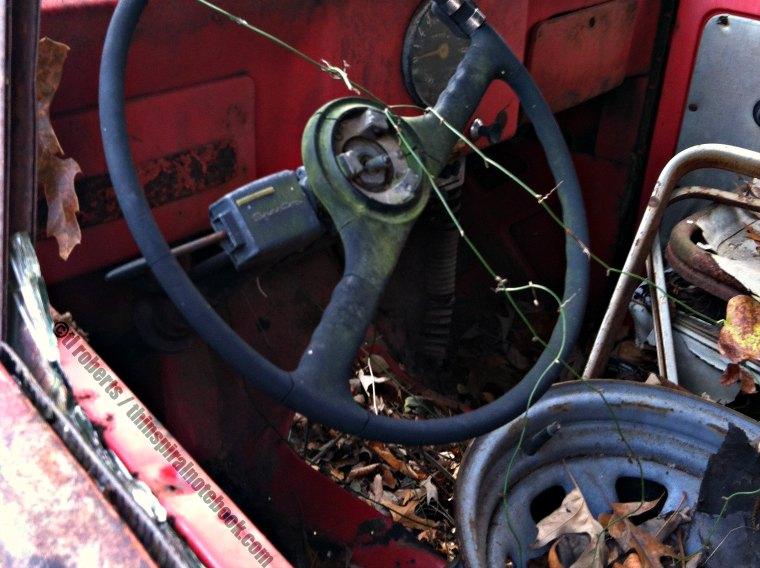 old junked car interior
