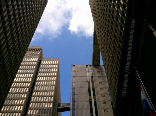 upward view of skyscrapers
