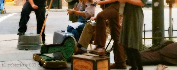 cropped image of street performers