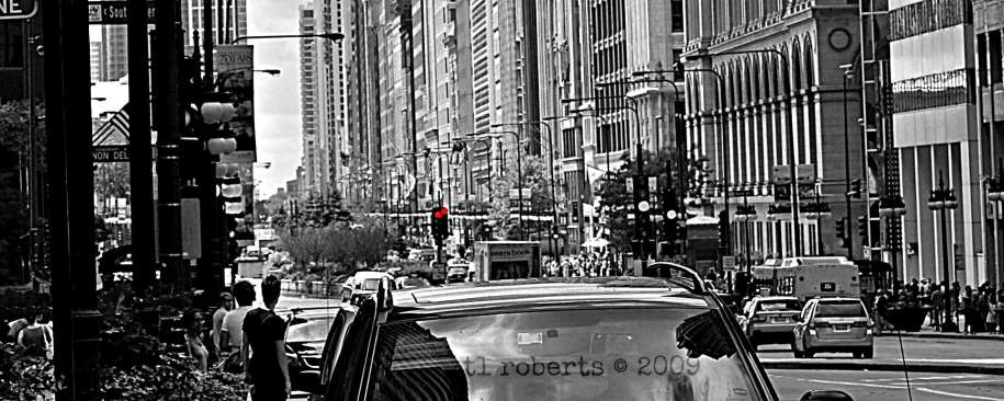 city street black and white