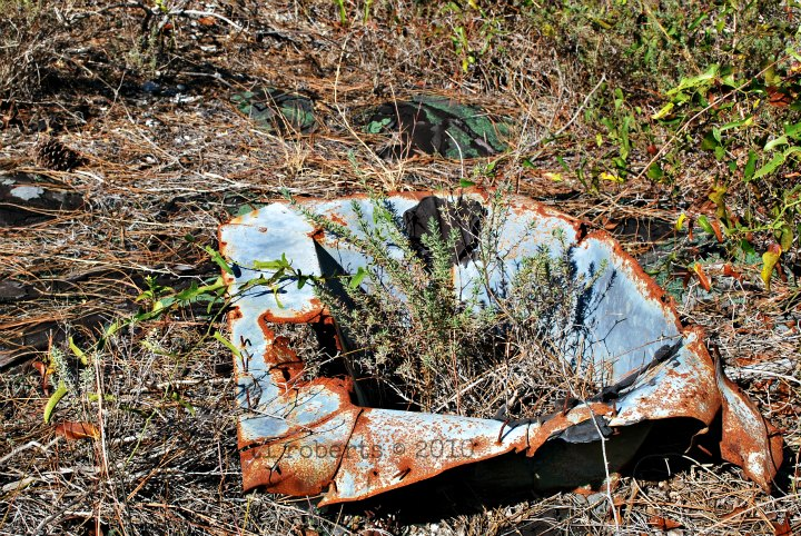 rusted metal sink