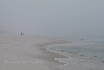 foggy beach with people