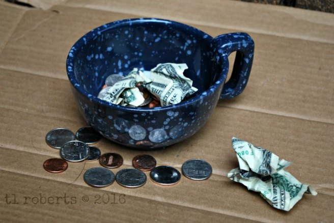 cup filled with change