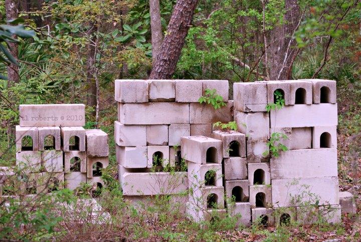 stacked cinder blocks