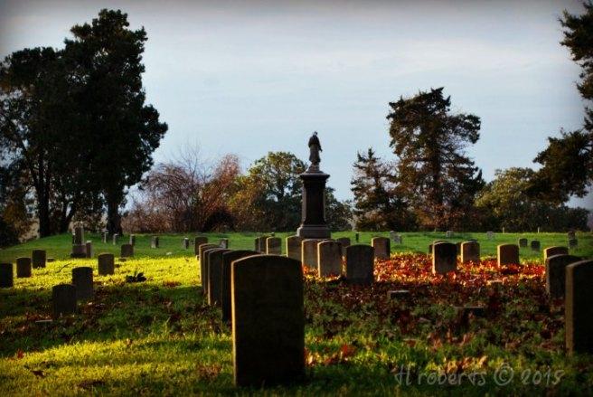 military cemetery at dusk