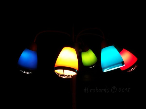 colored glass lamp scones