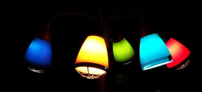 colored glass lamp scones