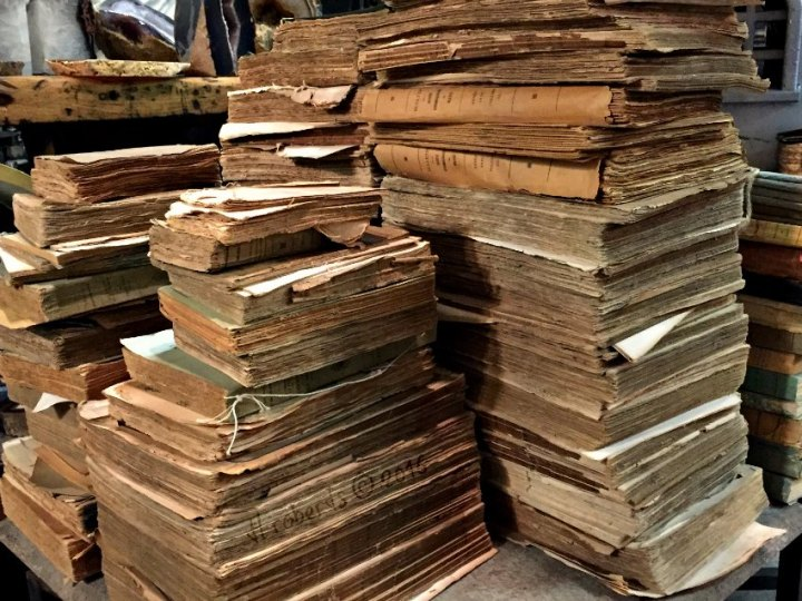 piles of old books
