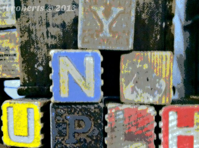 posterized letter blocks