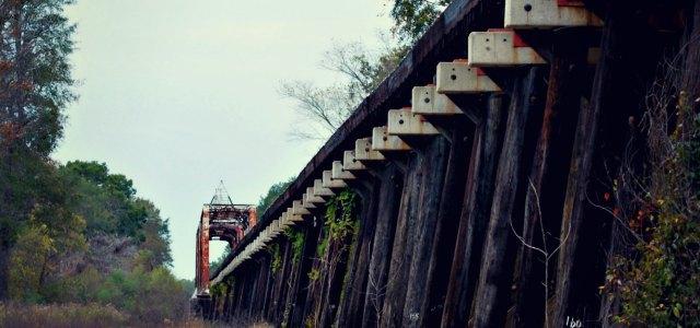 old wooden train trellis