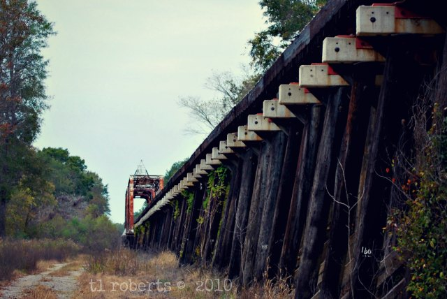 old wooden train trellis