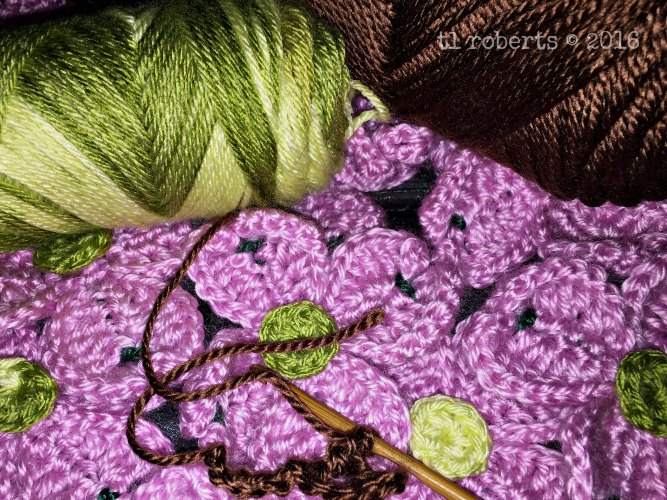 crocheted pink dogwood blossoms