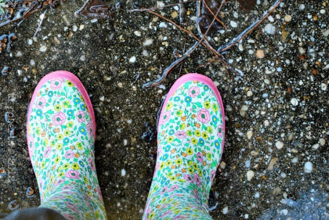 pink, flowery galoshes