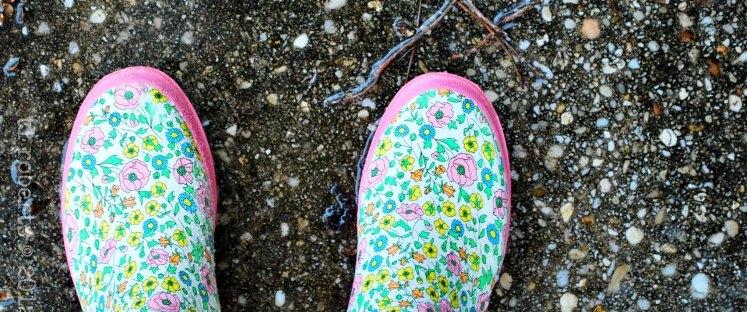 pink, flowery galoshes