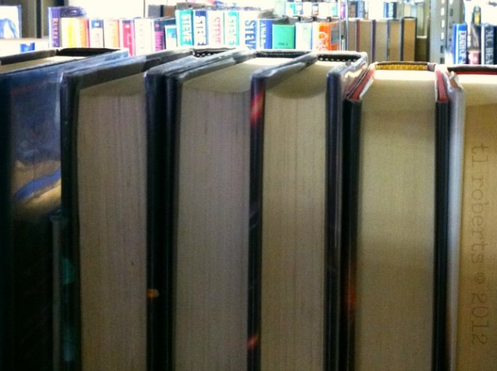 view of books from library stacks