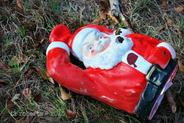 broken plastic Santa