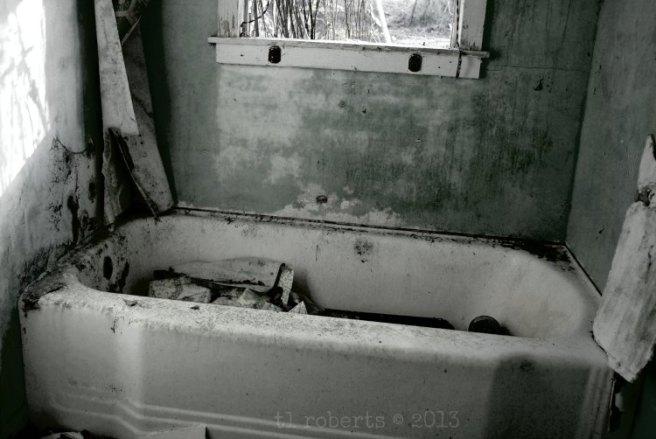 black and white old bathtub