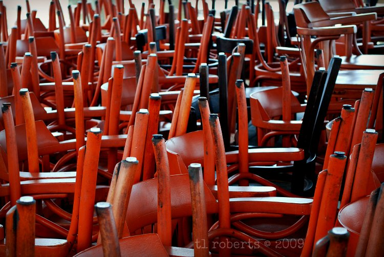 pile of red chairs